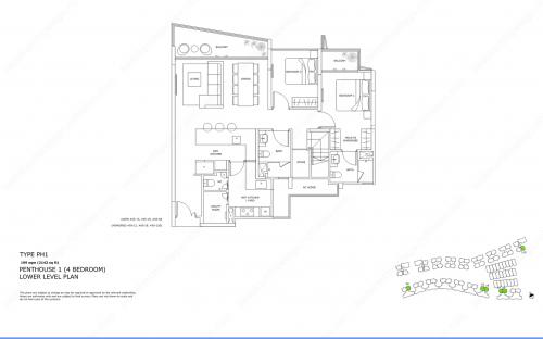 Archipelago Type PH1 - Penthouse 1 (4 Bedroom, Lower Level)